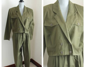 Khaki Pants Suit by Evidence Size 11 12 Pleated Pants Jacket Short Waist Military Look Two Piece Set