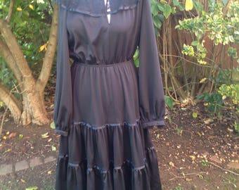 Original Vintage 1970's Black Bohemian Dress - Size 12