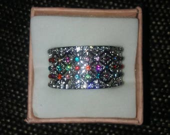 Size Ten Sterling Silver Ring With Multi-Color Stones