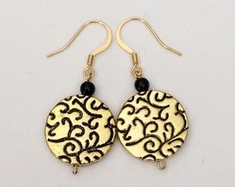 Gold Black Dangle Earrings Round Disc Earrings Textured Earrings Circle Flat Bead Earrings Statement Modern Earrings Boho Earrings Gift Her