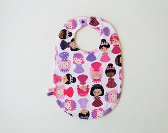 "Large bib ""princess"" in cotton and sponge 12-24 months"