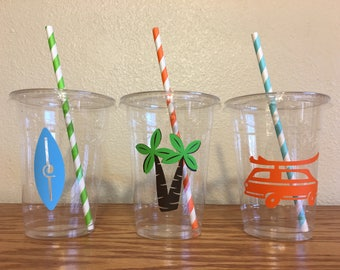 Surfing Party Cups, Surfer Party Cups, Surf party