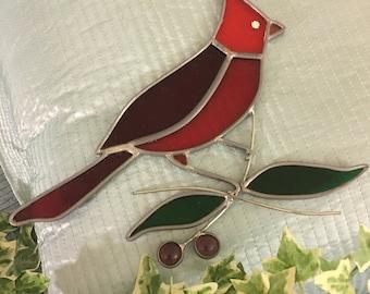Red Cardinal Bird Sun Catcher, Handmade Stained Glass, Sun Catcher Vintage Art
