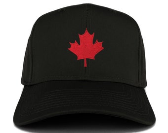 Canada Maple Leaf Embroidered 6 Panel Adjustable Baseball Cap (27-079-CANADA-LEAF)