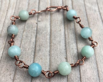 Amazonite Bracelet / Copper Bracelet / Wire Wrapped Bracelet