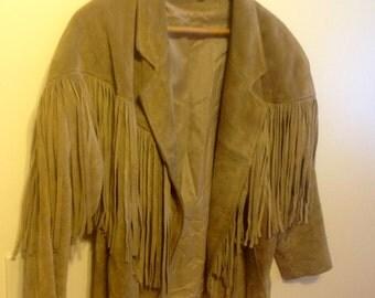 Women's fringe suede jacket