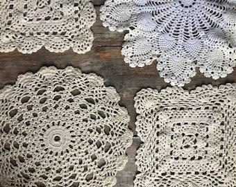 Vintage Crochet Linens Set of 4