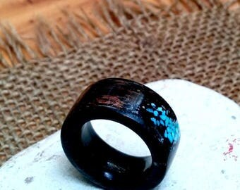 Turquoise Black Wood Ring.  Black Palm.  10mm Wide.