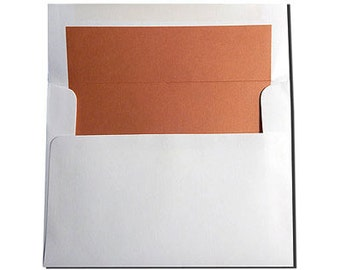 10 White with Orange Spice Lined Envelopes - A7 Size - ONLY 150 LEFT