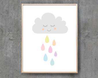 Printable Art Prints, Nursery Art Baby Boy Baby Girl, Cloud Rain Rainbow Printable Digital Print, Nursery Printable / INSTANT DOWNLOAD