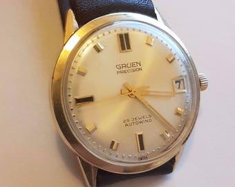 Mens Gruen Watch 14K Gold Case