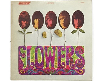 "The Rolling Stones, ""Flowers"", vinyl record album, classic rock LP, 1960s, keith richards, mick jagger, brian jones, ruby tuesday"