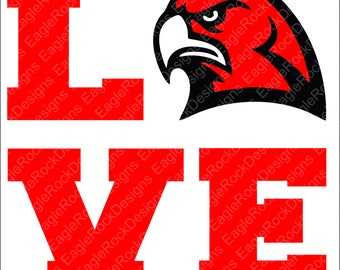 Love Hawks SVG, DXF, EPS, Png Cut File for Cameo and Cricut, Hawks Svg, Love Svg, Hawks Cut File, Cheer Svg, Cheer Cut File