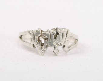 1970's SilverTone Novelty Three Frogs Ring, Size 7, 9.5mm Wide, Excellent Cond., Excellent Cond., Unknown Metal.