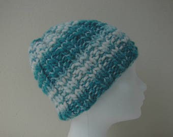 Chunky knit hat green blue white teen warm comfortable winter hat knit in round teal thick and thin woolen acrylic turquoise yarn teen hat