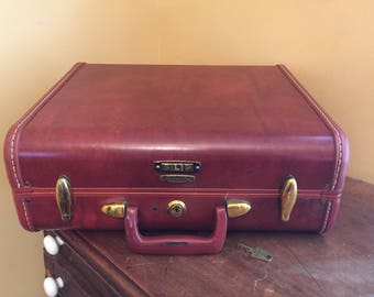 Small Vintage Samsonite Suitcase with Key/Samsonite 4916/Small Hard Sided Suitcase