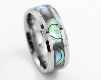 Men's Abalone Shell Tungsten Carbide Wedding Band, Engagement Ring, Comfort Fit, Free Engraving, Sizes 7-13