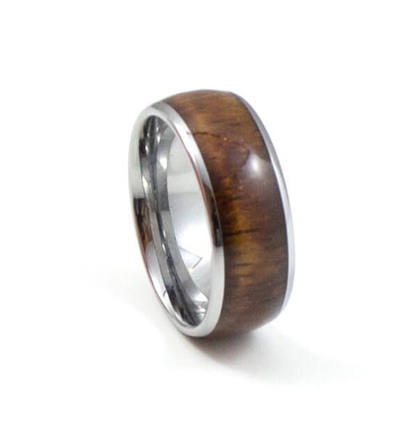 Hawaiian Koa Wood Men's Wedding Band 8MM Men's Ring
