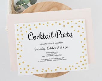Cocktail Party Invitation - Gold Confetti Printable Invitation 5x7 - Corporate Party - Editable PDF - Instant Download - Two Sizes - #GD0601