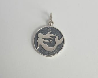 Sterling Silver Mermaid Charm, Mermaid Pendant, 15mm, Fast Shipping from USA