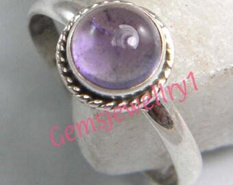 Amethyst Ring, Silver Amethyst Stone Ring ,Silver overlay Amethyst Ring, Gemstone ring Size 5, 6, 7, 8,9, 10, 11, 12  ring-0314140616