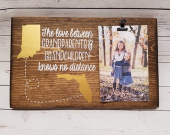 Long Distance Grandparent Picture Frame gift with States! Gift for grandma, wood photo board, picture clip, grandchildren, papa, mama, 7x12