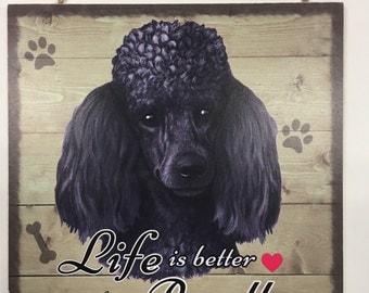 Black Poodle Wood Sign Gift