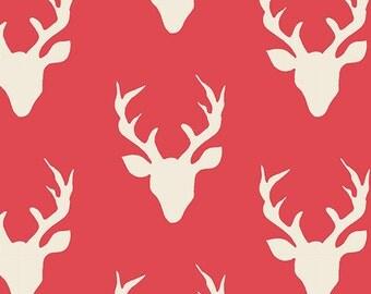 SALE!! 1 Yard- Hello, Bear by Bonnie Christine for Art Gallery Fabrics- Buck Forest Carmine 4434-7