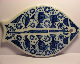 Porsgrund Norway Arne Lindaas Porcelain Fish Trivet