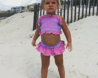 Sale! girls monogrammed TWO piece purple gingham with pink polka dot swim suit