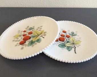 Darling vintage pair of 2 Westmoreland 1940s white milk glass plates sweet strawberry design with beaded edges!
