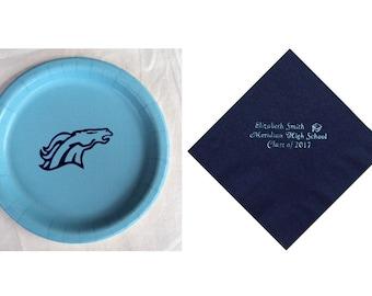 Meridian Mustangs High School Logo Plates, Meridian Mustangs Personalized Graduation Napkins, Mustangs Logo, Meridian High School Graduation