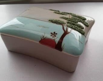 Weil Ware Ming Tree Trinket Box and Pin Tray Set