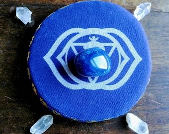Crystal Grid, Third Eye Chakra, Blue Onyx, Quartz Crystal Points