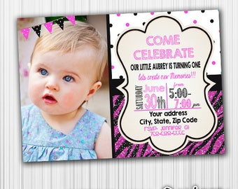 Animal Birthday Invitation, Glitter, Photo Card, Printable, Announcement, Invite, Custom,Digital,