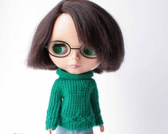 Blythe sweater, Green sweater with long sleeve for Blythe doll, Green clothes for doll, Hand knitted doll outfit, Blythe knitted sweater