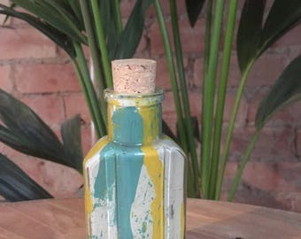 Vintage Hand Formed Painted Glass Bottle   Cream/Turquoise /Yellow