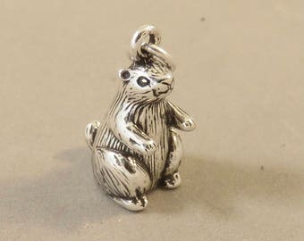 PRARIE DOG .925 Sterling Silver 3-D Charm Pendant Animal Rodent Groundhog Ground Squirrel New an121