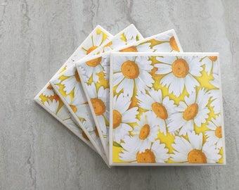 Daisy Coasters, Daisy Gift, Yellow Coasters, Floral Coasters, Daisies, Summer Gift, Ceramic Coasters, Tile Coasters, Coasters, Daisy,