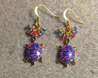 Blue and bright pink enamel turtle charm earrings adorned with tiny dangling blue and bright pink Chinese crystal beads.