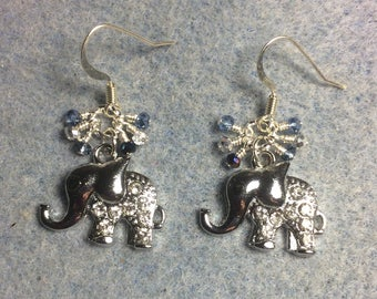 Silver and rhinestone elephant charm earrings adorned with tiny dangling light blue and silver Chinese crystal beads.