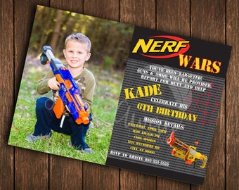 Nerf Invitation | Nerf Gun Party | Nerf Wars | Nerf Birthday |