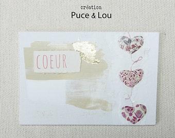 """art postcard """"hearts in bloom"""""""