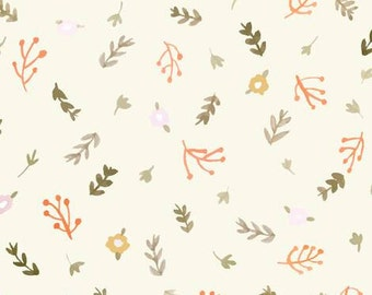 Crib Sheet or Changing Pad Cover | Baby Girl Bedding | Mini Vintage Floral Peach and Yellow Crib Sheet | Coral and Green Nursery