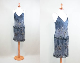 vintage 90 dress / designer dress Etro / sequin silk dress / 1990s cocktail dress / light blue / two pieces / made in italy