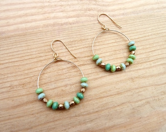 Gold plated hoop earrings with Czech glass beads