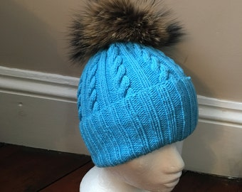 SALE! Light Blue Cable Knit Handmade 100% Cashmere Hat with Raccoon Fur Pom Pom