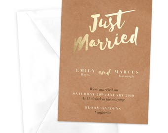 Just Married Announcement Card / Dinner Party Invitation / Rehearsal Party Invitation / Birthday Party Invite / Printable Wedding Invite