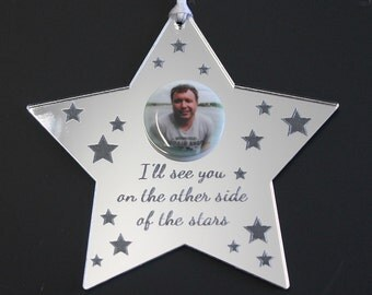 The Other Side of the Stars MEMORIAL Photo Personalised Decoration & Gift Bag