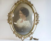 Antique Brass Picture Frame with Portrait Profile Young Woman -  Large Convex Oval Bubble Glass Frame - Curved Domed Glass